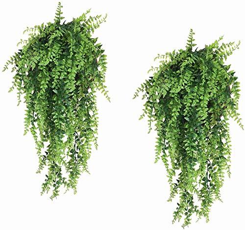 ZWSHOP - Planta de helecho artificial para colgar plantas artificiales de plástico para exteriores, protección UV, 2 unidades