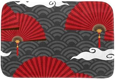 EGGDIOQ Doormats Red Chinese Folding Fans Custom Print Bathroom Mat Waterproof Fabric Kitchen Entrance Rug, 23.6 x 15.7in