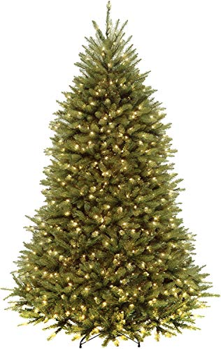 National Tree Company 'Feel Real' Pre-lit Artificial Christmas Tree | Includes Pre-strung Multi-Color LED Lights and Stand | Dunhill Fir Tree - 6.5 ft