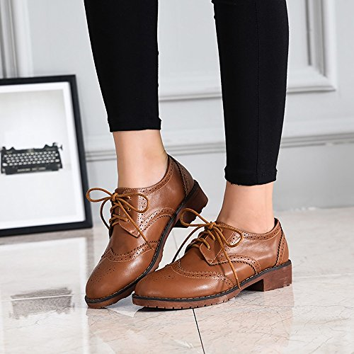 Meeshine Women's Perforated Lace-up Wingtip Leather Flat Oxfords Vintage Oxford Shoes Brogues Brown Size 9 US