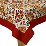 Fabric :: Cotton Tablecloth-72 Inches, 100% Cotton Round Dinning Table Cover for 4 Seater A tablecloth is a cloth used to cover a table. Some are mainly ornamental coverings, which may also help protect the table from scratches and stains. Other tabl...
