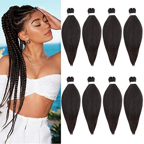 8 piezas pre-estirado Yaki profesional trenzado cabello permanente 26 pulgadas baja temperatura fibra sintética trenza cabello libre suave fibra sintética crochet extensión del pelo (4#)