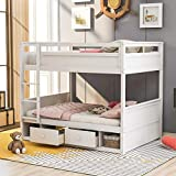 Full Over Full Bunk Bed for Kids, Solid Wood bunk Bed Frame with Two Drawers and Storage,Kids'Adults Bunk Beds for Bedroom, Dorm, White