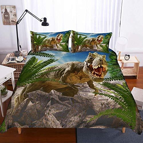 NYLIN Fundas Nórdicas Dinosaurio Jurásico Feroz Colcha Estampada Dinosaurio 3D Juego De Ropa De Cama 2-4 PCS Fundas Nórdico/Fundas De Almohada/Sábanas para Niños Niño Niña Cama 90/135/150/180