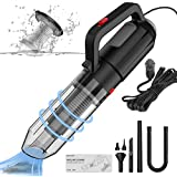 Car vacuum cleaner, portable vacuum cleaner with inflation and blowing function, high-power vacuum cleaner with 16.4 feet cord, Wet & Dry, DC 12V, suitable for car cleaning and balloon inflation