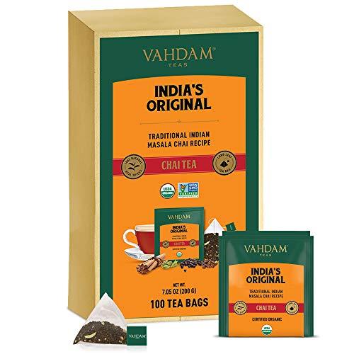 VAHDAM, Bolsas Se Te Masala Chai latte Originales de la India, 100 bolsas de te, 100% de especias naturales y mezcladas y envasadas en la India: te negro, cardamomo, canela, pimienta negra y clavo
