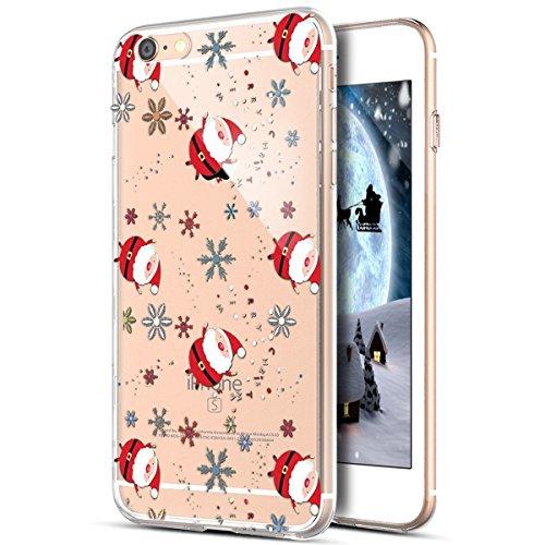 iPhone 6S Plus móvil, iPhone 6Plus Funda, iPhone 6S Plus/6Plus Carcasa Case, ikasus–Carcasa de silicona para iPhone 6S Plus/6Plus, transparente con Xmas Christmas Papá Noel Navidad Copo de nieve