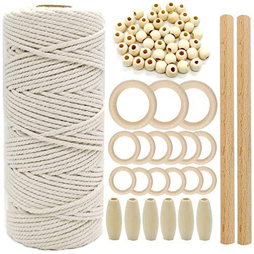 Hilo de pana de algodón natural de 3 mm con varillas de madera, anillos de madera y cuentas de madera para macramé, colgar de plantas, tapices de pared, lazos de boda (color)