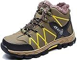 Zapatos de Seguridad para Hombres Mujeres Zapatos de Trabajo de Invierno Zapatillas de Deporte con Punta de Acero Zapatillas industriales Felpa Cálida Ligera Transpirable, 997W Brown 46