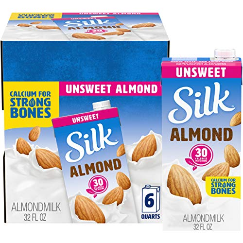 Silk Shelf-Stable Almondmilk, Unsweetened, Dairy-Free, Vegan, Non-GMO Project Verified, 1 Quart (Pack of 6)