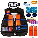 RATEL Kit de Chaleco Táctico para Niños, 38pcs Traje de chaqueta para N-Strike Elite Series con 30 piezas de espuma Dardos + 2 Quick Reload Clips + 1 Gafas protectoras + 2 Máscara + 2 muñequera