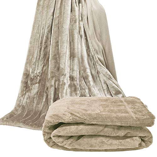 JEMIDI Kuscheldecke Sofadecke Nerzfelloptik Pelzimitatdecke Decke Nerz Optik Felldecke Wohn Sofaüberwurf Felloptik XL Nerz 150x200cm (Beige)