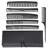 T4B LUSSONI Professional Comb Set 7 Pezzi Pettini Professionali per Parrucchiere con custodia