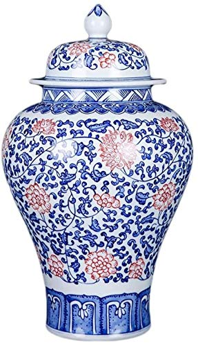 TINGFENG Jarrón de cerámica hecho a mano con tapa accesorios para oficina y hogar (39 x 21 cm)