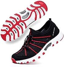ALEADER Mens Summer Hiking Shoes Comfortable Wet Walking Sneakers for Wading, Boating Black/Red 12 D(M) US