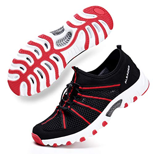ALEADER Womens Summer Hiking Shoes Comfortable Wet Walking Sneakers for Wading, Boating Black/Red 9 B(M) US