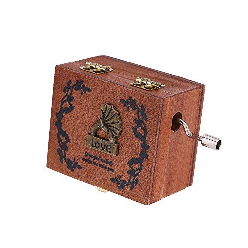 readycor (TM) Exquisite Handkurbel Spieluhr Retro Vintage Holz Musik Box 4verschiedene Muster für Option Schöne Deko Mustern