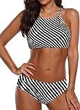 EUDOLAH Böhmische Neckholder Strand Bikini Set Trägerlos Beachwear Bademode (XXX-Large, Schwarz Streifen)