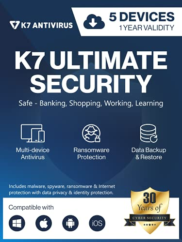 K7 Ultimate Security Antivirus Software 2021  5 Devices, 1 Year Threat Protection,Internet Security,Data Backup,Mobile Protection Windows laptop,PC, Mac®,Phones,Tablets 2hr Email Delivery