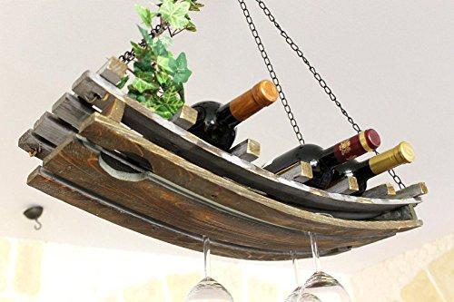 DanDiBo Botellero 5089Estante colgante de madera de 65cm. Soporte para botellas.