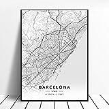 shuimanjinshan Bilbao Gijon Barcelona Valencia Algeciras Ourense España Lienzo Arte Mapa Cartel 50X70Cm No Frame W-26