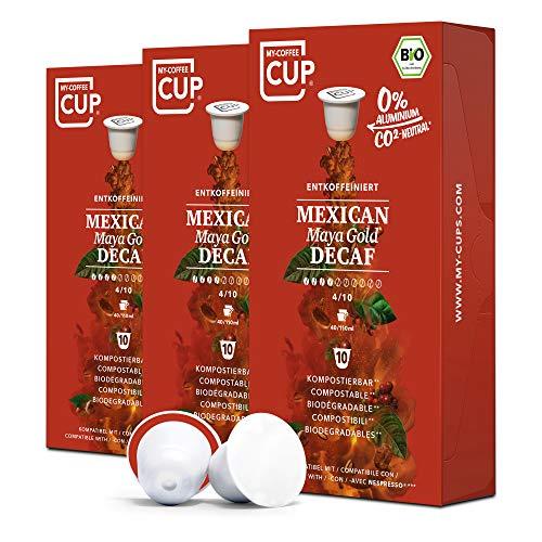 My-CoffeeCup – MEXICAN MAYA GOLD DECAF – BIO-KAFFEE 3 PACKUNGEN I 30 Kaffeekapseln für Nespresso®*Kapselmaschinen I 100% industriell kompostierbare Kaffeekapseln – 0% Alu I Nachhaltige Kaffeekapseln