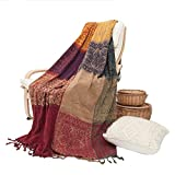 UNIGARDEN Bohemian Throw Blankets Chenille Jacquard Tassels for Bed Couch Decorative Soft Chair Cover Soft red Boho Blanket Tribal Pattern/B, Large