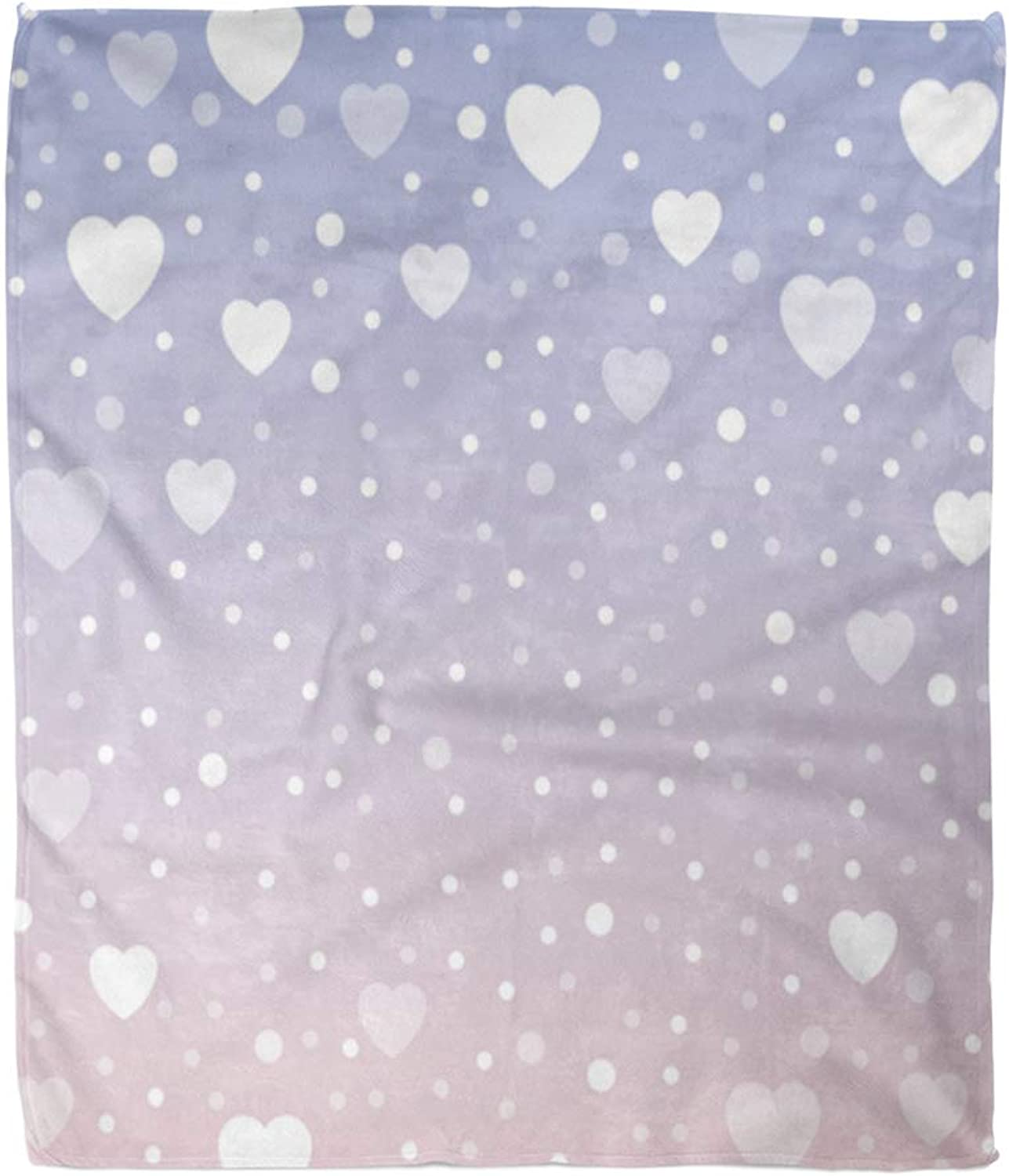 Emvency Throw Blanket Warm Cozy Print Flannel Pink Hearts Great for Baby Birthday Celebration Greeting and Mother's Day Book Comfortable Soft for Bed Sofa and Couch 50x60 Inches