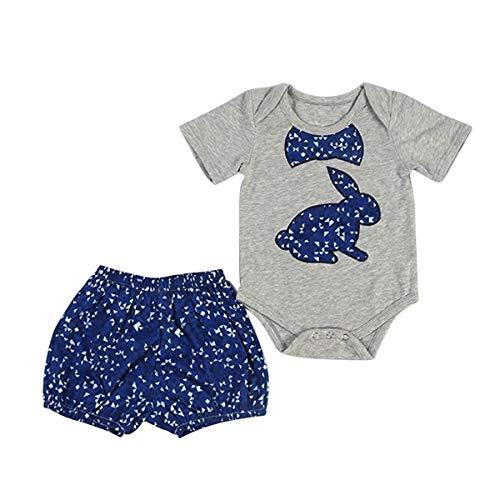 Borlai Baby Girls Cute Blue Rabbit Barboteuse + Vêtements de Costume Set 2pcs (Color : Blue+Grey, Size : 0M-6M)