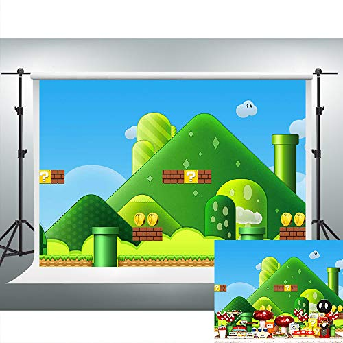 Web Games Backdrops for Photography 7x5ft Super Uncle Bros with Mushrooms Background Themed Party YouTube Backdrops Photo Booth Studio Props LSVV646