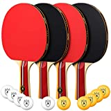 OlymOlym Ping Pong Paddle and Table Tennis Set, Pack of 4 Premium Rackets and 10 Table Tennis Balls...