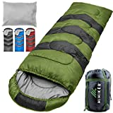 HiHiker Camping Sleeping Bag + Travel Pillow w/Compact Compression Sack - 4 Season Sleeping Bag for Adults & Kids - Lightweight Warm and Washable, for Hiking Traveling & Outdoor Activities (Green)