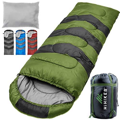 HiHiker Camping Sleeping Bag + Travel Pillow w/Compact Compression Sack - 4 Season Sleeping Bag for...