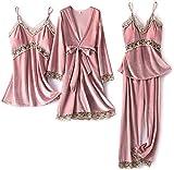 Pijamas para Mujer Set de 4 Piezas Pijamas Velvet Inicio Use Soft Womed Sleepwear (Color : Pink, Size : XL)