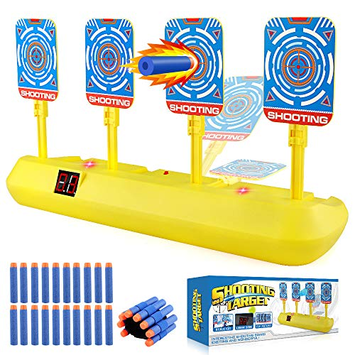 Blasland Digital Target - Electronic Auto Scoring Reset Shooting Digital Target Toy with 4 Targets (20 Pcs Darts and 1 Hand Wrist Band Included)