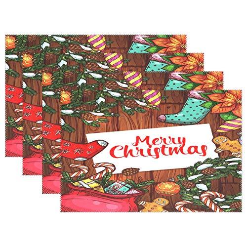 Merry Christmas Holiday Table Mats para Mesa De Comedor, Juego De 1, Navidad Año Nuevo De Madera, Lavable, Holiday Place Mats, Mesa De Cocina, 12 X 18 Pulgadas Tapetes De Cocina Resistentes Al Calor