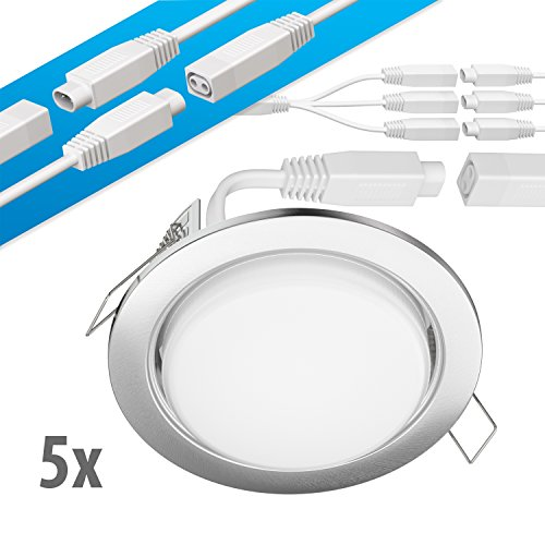 Preisvergleich Produktbild ledscom.de LED Decken-Einbaustrahler RUBA chrom matt GX53 6, 3W 450lm warmweiß rund flach 107mm Ø Lochkreis ca. 83-100mm Ø 5er Set