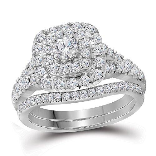 Anillo de compromiso de Lux de oro blanco de 14 quilates con diamante redondo Bellissimo, doble halo para novia, 1,00 quilates = 1 claridad I1, color G-H, talla 9,5