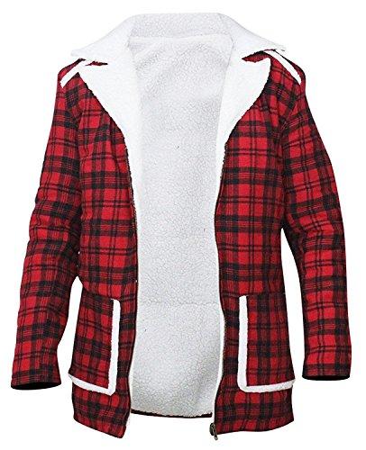 Ryan Reynolds Deadpool Wade Wilson Flanelljacke aus Lammfell und Lammfell für Herren, Rot Gr. Medium, rot