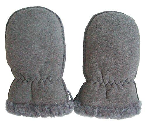Chamier Lammfellprodukte Lammfell Handschuhe Babys grau, Baby Fell Fäustlinge, Größe M