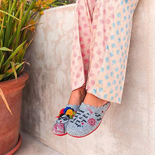 Slippers Frida Gris Zapatillas de Estar por casa Mujer Invierno Otoño - 35 EU