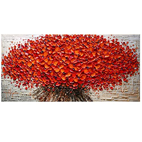QUANHUA Pittura Ad Olio su Tela Dipinto A Mano con Coltello Palette,Quadri Astratti con Fiori Rossi, Decorazione Murale Moderna di Grandi Dimensioni per Soggi,A,70×140cm