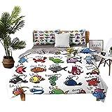 DRAGON VINES Bed Sheets Queen Cotton Nautical Decor for Kids Bed Sheets Full Set Aquarium Cartoon Octopus Dolphin Shark Whale Clown Fish Jellyfish Crab Marine W90 xL90
