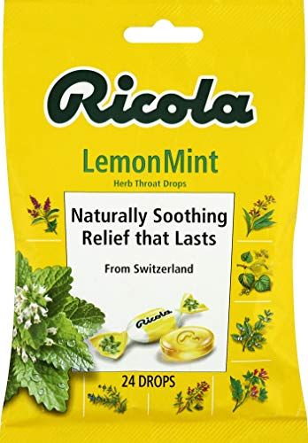 Ricola Lemon Mint Herbal Cough Suppressant Throat Drops, 24ct Bag