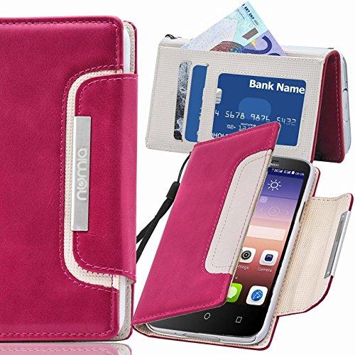 numia Huawei Ascend G730 Hülle, Handyhülle Handy Schutzhülle [Book-Style Handytasche mit Standfunktion & Kartenfach] Pu Leder Tasche für Huawei Ascend G730 Hülle Cover [Pink-Weiss]