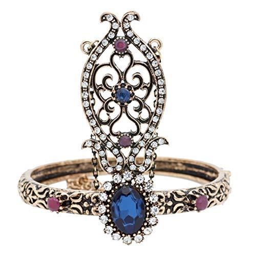 Armband,Blau Ethnische Türkische Frauen Blume Solide Vintage Armreif Antique Gold Silber Farbe Arabien Tanz Armband Indische Hochzeit Schmuck