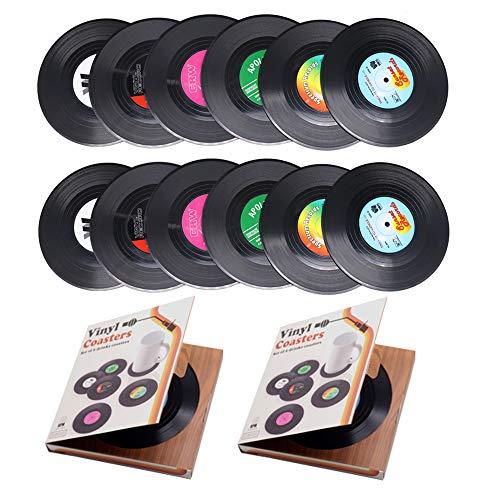 Sottobicchieri personalizzati in vinile con registrazione CD, anti calore/scivolamento, per caffè, tè, birra, bicchiere da vino, bottiglia da tavolo, protezione da segni d'acqua e danni casa e bar