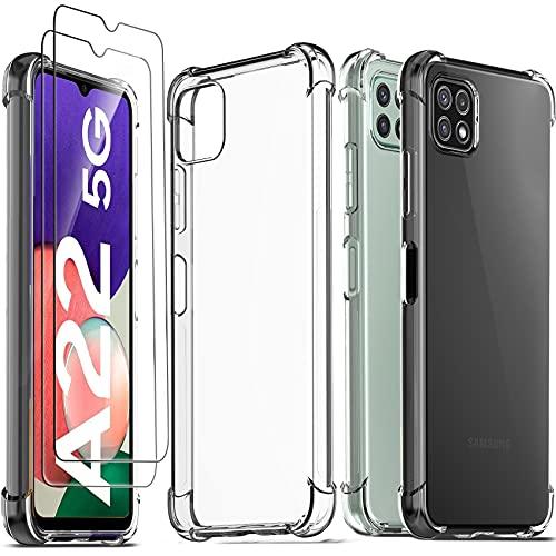 Ferilinso Funda para Samsung Galaxy A22 5G + 2 Piezas Cristal Templado...