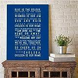 EBONP Pintura decoración Pared Arte Inspirado la Letra de la canción Arte Pintura Cuadros de la Pared Azul es el Color Letra tipografía Lienzo Arte Impresiones decoración del hogar-24x32inch