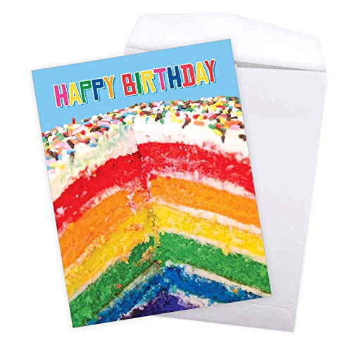 Large Birthday Greeting Card With Envelope 8.5 x 11 Inch - 'Rainbow Cakes' Happy Appreciation Card - Sliced Rainbow Cake Sprinkled With Rainbow Sprinklers On Top - Birthday Cake Card J6565FBDG Photo #8
